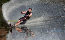 A man water skiing
