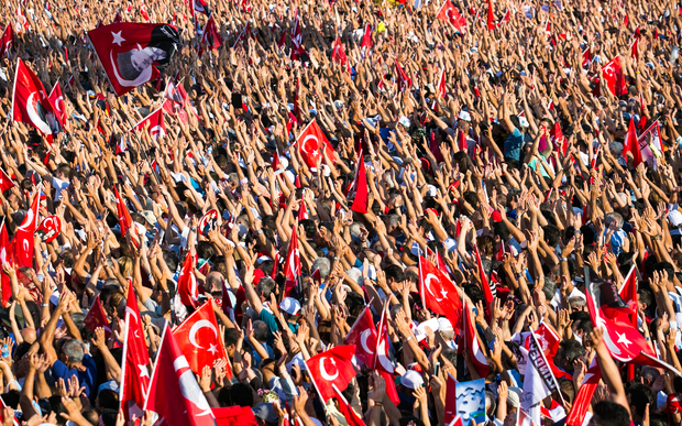 Tens of thousands of people take part in a pro-democracy rally in Istanbul, condemning the nation's attempted coup.