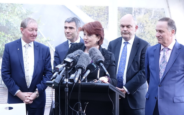 Ministers at the predator free announcement: Nick Smith, Nathan Guy, Maggie Barry, Steven Joyce, John Key.