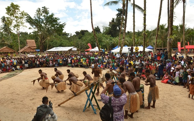 South Malaita Solomon Islands. Crowd enjoys cultural entertainment as part of RAMSI 13th anniversary celebration on the 24th of July 2016.