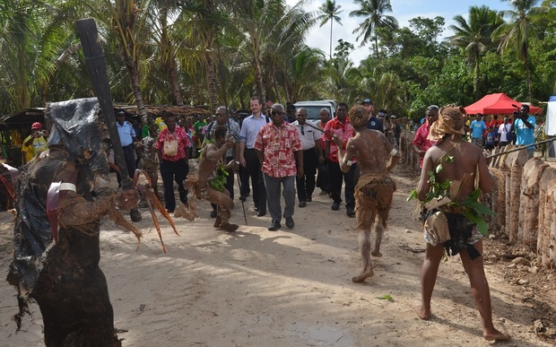 South Malaita, Solomon Islands. Guests of Honour receive a warrior welcome to the Yam Cultural Festival and the RAMSI 13th Anniversary celebrations.