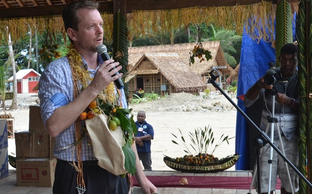 Special Coordinator addresses the crowd at RAMSI 13th anniversary celebration. South Malaita, Solomon Islands 24-07-2016.