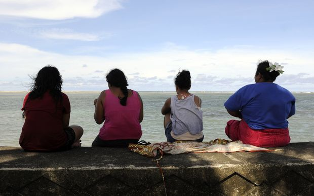 Samoan women gather on the waterfront in Apia.