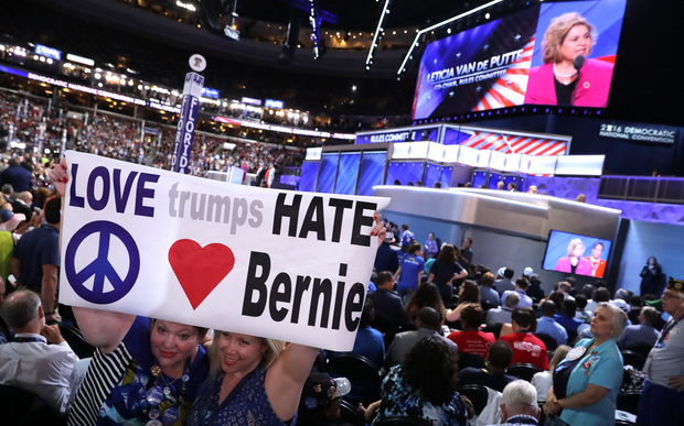 Bernie Sanders supporters at the Democratic National Convention