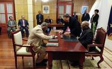 Reshuffled Ministers in Papua New Guinea taking their oaths of office after a failed no confidence motion against Prime Minister Peter Oneil. July 2016