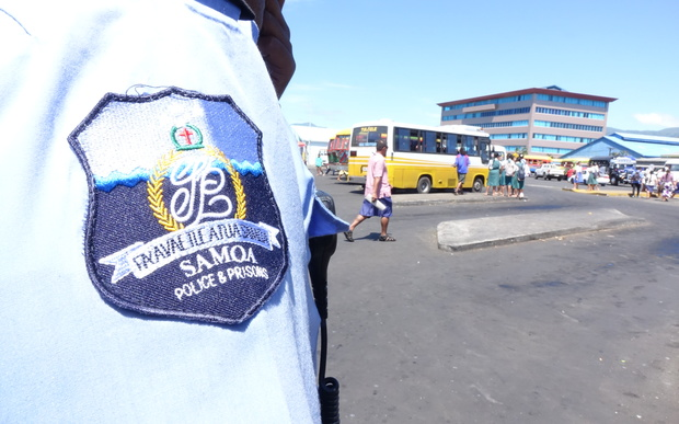 "Samoa police badge bearing the country's public seal which reads ""Faavae i Le Atua Samoa"" which translates to English as ""God be the Foundation of Samoa"""