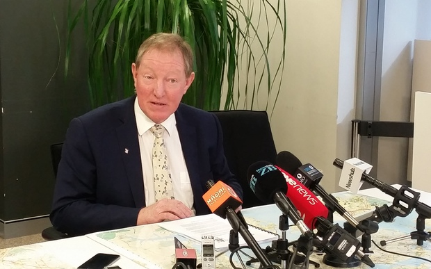 Nick Smith addresses media following the Auckland Council's announcement to extend high-density housing in the city.
