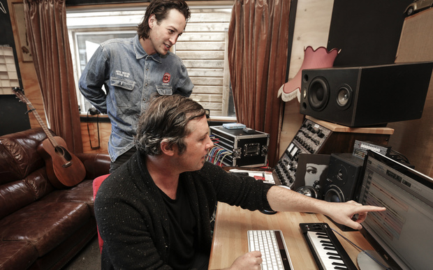 29062016 Photo RNZ / Rebekah Parsons-King. L-R Marlon Williams and Ben Edwards in studio at The Sitting Room in Lyttelton.