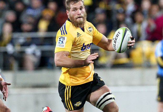 Hurricanes' Brad Shields carries the ball in one hand during the Super Rugby Semi Final, Hurricanes v Brumbies.