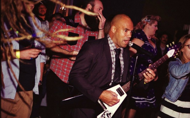 Manuel Springford performing with his band WavePig, who perform some songs in Te Reo