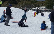 Families enjoy the snow at Egmont National Park below Mt Taranaki.