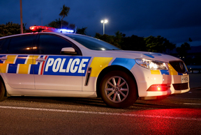 Police car at a check point in Mana, Wellington.