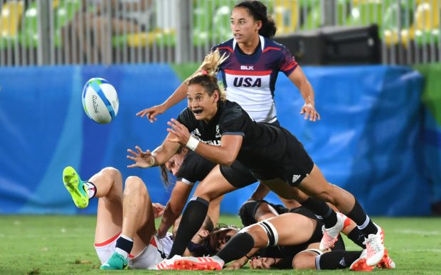 Black Fern Ruby Tui in action against the USA at the Olympics