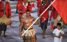 Pita Taufatofua leads Tonga's delegation during the opening ceremony of the Rio 2016 Olympic Games in Rio de Janeiro on 5 August 2016.