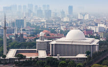 JAKARTA, INDONESIA - OCTOBER 21, 2014: Aerial view of Istiqlal Mosque. It is the largest mosque in Southeast Asia.