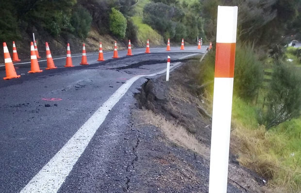 A slip has partly closed State Highway 25 south of Coromandel Town. (Photo:NZTA)