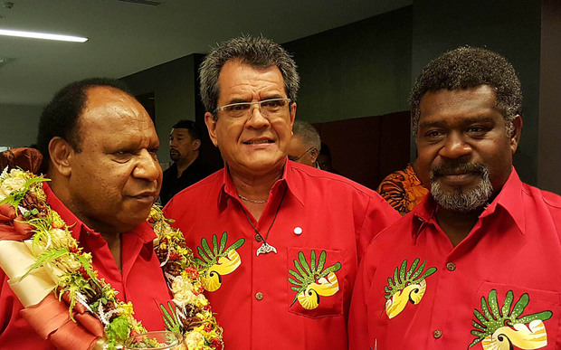 Left to right: PNG Foreign Minister Rimbink Pato, President of French Polynesia Édouard Fritch and Vanuatu Foreign Minister Lenkon Tao Bruno