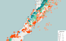 Map of NZ showing earthquake distribution