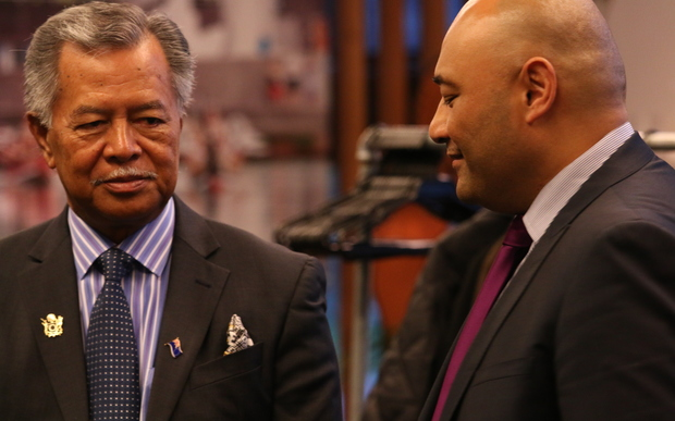 The Prime Minister of the Cook Islands, Henry Puna (left), and the New Zealand minister for Pacific People's, Peseta Sam Lotu-Iiga announce the Cook Islands candidacy for UNESCO in Wellington.