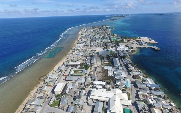 An aerial look at crowded Ebeye Island in the Marshall Islands, one of two urban centers where poverty and income disparities are high
