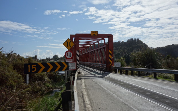 The incomplete cycle trail section runs between the Taramakau Bridge to Ross.