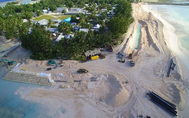 Dredging and construction of a new seawall is underway on the Tuvalu atoll of Nukufetau.