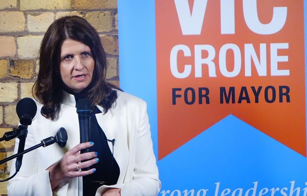 Vic Crone speaks at her mayoral campaign launch.