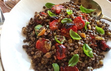 Lentil Salad with Golden Raisins & Roasted Tomatoes