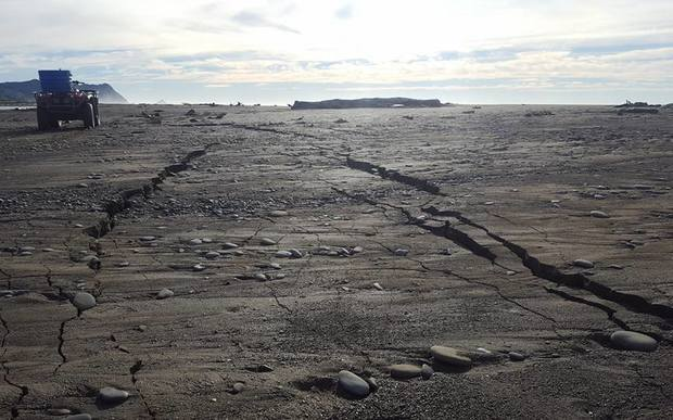 The 7.1 magnitude earthquake left large cracks in the sand at Rangitukia Beach near Te Araroa.