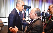 US President Barack Obama meets Papua New Guinea Prime Minister Peter O'Neill at the Pacific Islands Conference of Leaders in Hawaii.