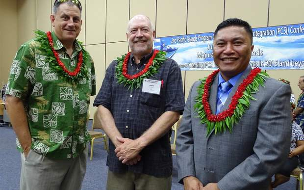 From the left CDC officials Richard Brostrom and Andy Andrew with Marshalls' Health Minister Kalani Kaneko