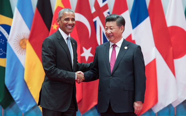 President Obama, left,being welcomed by Chinese President Xi Jinping at the G20 summit in Hangzhou.