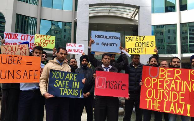 Taxi drivers in Wellington protest against Uber as part of a national day of action.