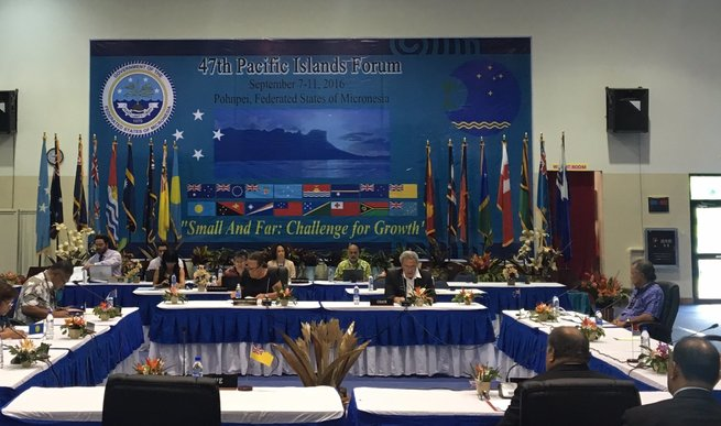 Leaders of the Smaller Island States of the Pacific Islands Forum sit down to meet.