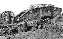 British Mark 1 tank near Thiepval, 25 September 1916