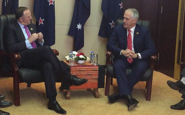 John Key, left, and Malcolm Turnbull meeting at the East Asia Summit in Laos.