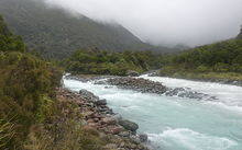 Wilkinson River - confluence with Whitcombe River, New Zealand. Image by M Lawrie.