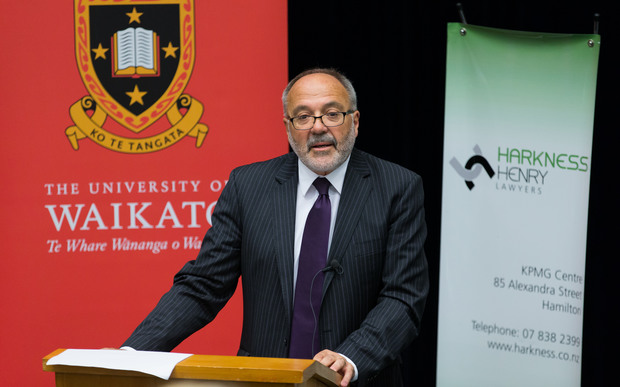 Sir Ron Young delivers a speech on legal aid at Waikato University on 7 September 2016.