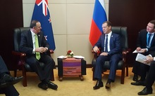 Prime Minister John Key meets with Russian Prime Minister Dmitry Medvedev at the East Asia Summit in Laos.