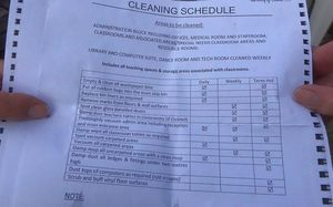 List of cleaning duties