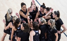 Silver Ferns huddle during the 2016 Netball Quad Series match between Australia and New Zealand