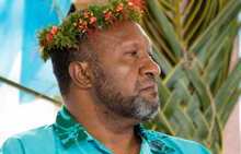 Vanuatu's Prime Minister Charlot Salwai listens to speeches at the 16-nation Pacific Islands Forum (PIF) opening in the Micronesian capital Palikir on September 8, 2016.