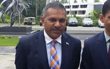 Fiji trade, tourism & now lands & minerals minister Faiyaz Koya (left) arrives at the Fiji Australia Business Forum
