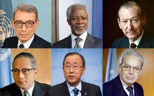 The current and past six Secretaries-General, clockwise from top left, Boutros Boutros-Ghali,Kofi Anan, Kurt Waldheim, Javier Perez de Cuellar, Ban Ki-moon and U Thant.