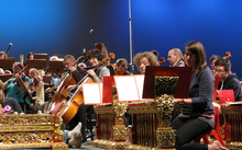 CSO with gamelan in rehearsal