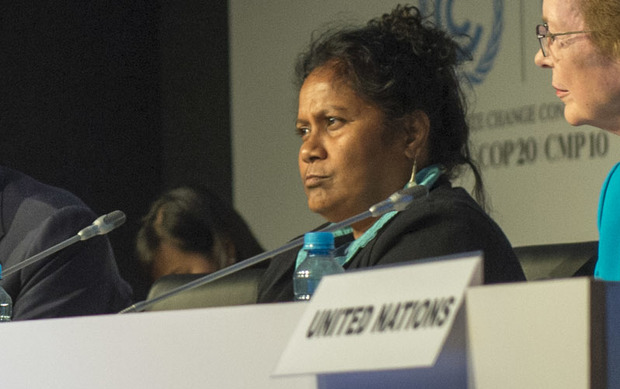 Charmaine Scotty, Minister for Home Affairs and Education and Special Presidential Envoy for Climate Change, Nauru (Chair of AOSIS) at COP20, 2014.
