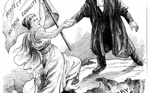 Engraving from  New Zealand Graphic, 21 July 1894, a woman holds a flag proclaiming 'Perfect Political Equality'