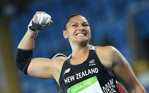 Valerie Adams celebrates a put in today's final.