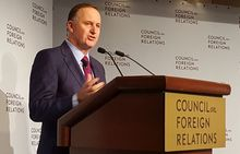 John Key speaking at the Council on Foreign Relations in New York.