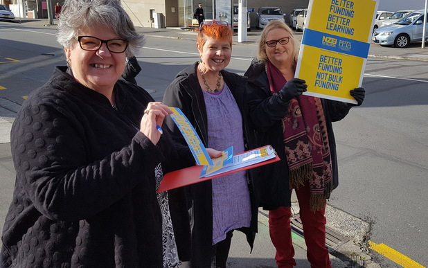Wellington teachers protest against proposed school funding changes.